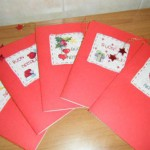 Bigliettini di Auguri natalizi fatti punto croce